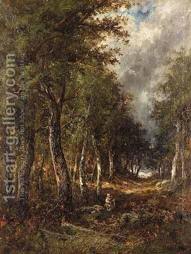 Faggot Gatherer In Woodland Glade by Barbizon School - Reproduction Oil Painting