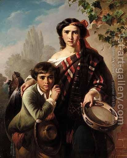 The Street Musicians by Carl Adolf Gugel - Reproduction Oil Painting