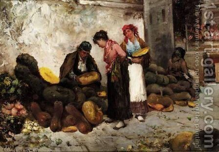 Vegetable Market, Italy by Antonio Lonza - Reproduction Oil Painting