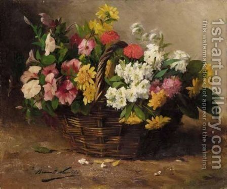 A Basket Of Flowers by Alphonse de Neuville - Reproduction Oil Painting