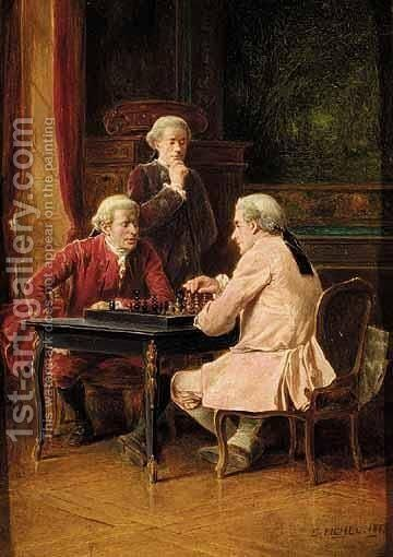 The Chess Players by Benjamin Eugene Fichel - Reproduction Oil Painting