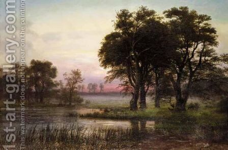 Sunset by Anton Edvard Kieldrup - Reproduction Oil Painting