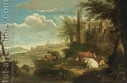 Cows Resting In A Classical Landscape by (after) Dirck Van Bergen - Reproduction Oil Painting