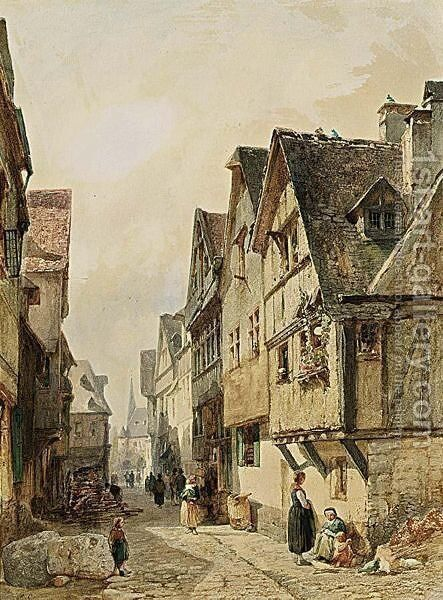 A Town View by Gustave Adolphe Simonau - Reproduction Oil Painting