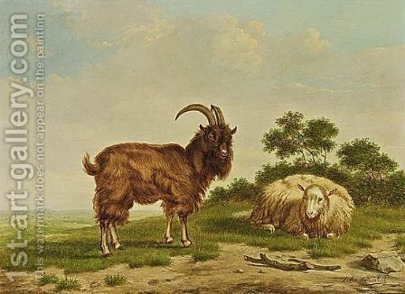 Sheep And Goat In A Landscape by Arthur De Waerhert - Reproduction Oil Painting