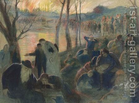 Fire In The Shtetl by Isaac Lvovitch Asknasy - Reproduction Oil Painting