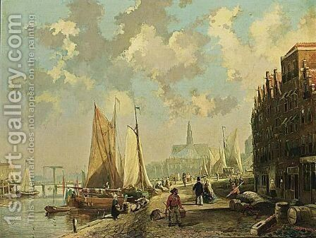 A Town View, Possibly Delft by Jan Heppener - Reproduction Oil Painting
