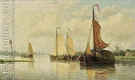 Moored Sailing Vessel by Hendrik Hulk - Reproduction Oil Painting