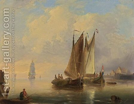 Shipping In Calm At Sunset by Govert Van Emmerik - Reproduction Oil Painting