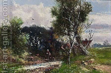 A Peasant Woman Near The River by Abraham Hulk Jun. - Reproduction Oil Painting