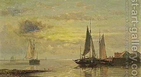 Shipping In Calm Waters by Abraham Hulk Snr - Reproduction Oil Painting