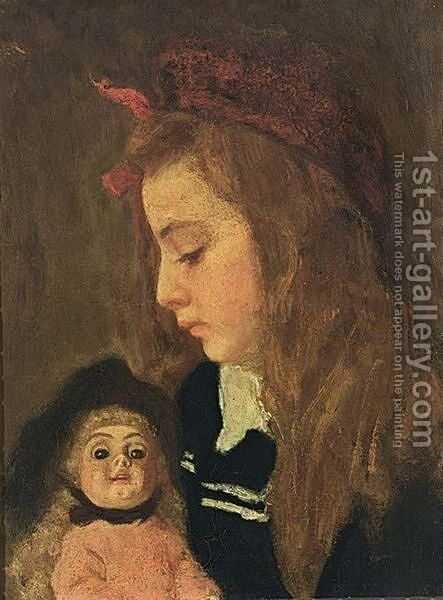 A Portrait Of Henriette Thuere With A Doll by Marie Wandscheer - Reproduction Oil Painting
