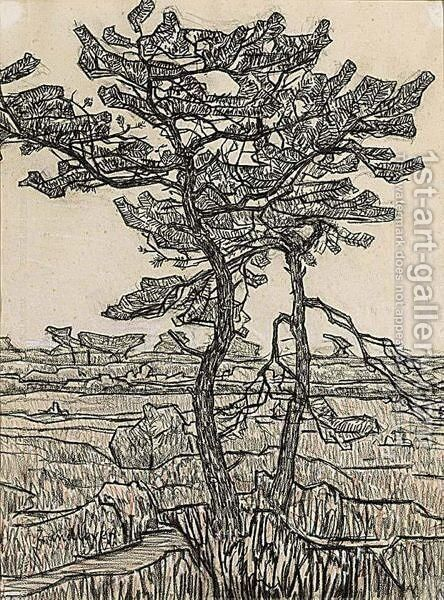A Tree In A Landscape by Jan Adam Zandleven - Reproduction Oil Painting