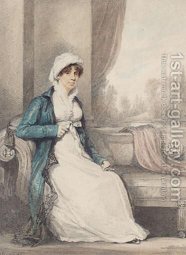 Portrait Of A Lady In Blue by Henry Edridge - Reproduction Oil Painting
