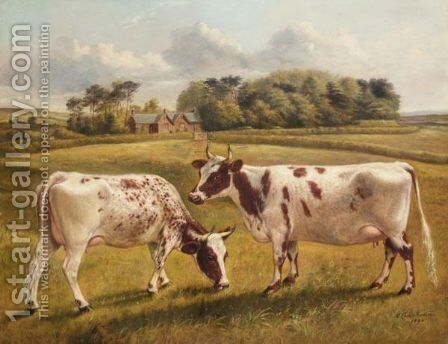 Pinky II And Polly II, Two Prize Pedigree Ayrshire Cows In A Spring Landscape by Benjamin Cam Norton - Reproduction Oil Painting