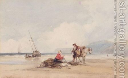 Conversation On The Beach by Charles Bentley - Reproduction Oil Painting