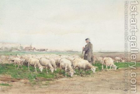 Shepherd And His Flock by James Hamilton Mackenzie - Reproduction Oil Painting
