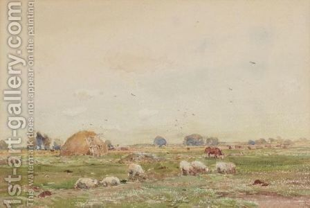 Landscape With Sheep by Claude Hayes - Reproduction Oil Painting