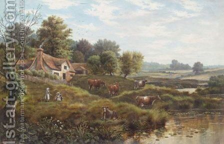 Cottage Scene by Henry J. Livens - Reproduction Oil Painting