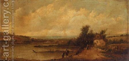 Fishermen On The River by Alfred Vickers - Reproduction Oil Painting