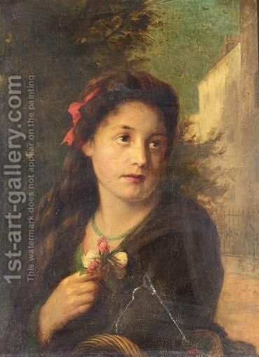 A London Flower Seller by Augustus Edward Mulready - Reproduction Oil Painting