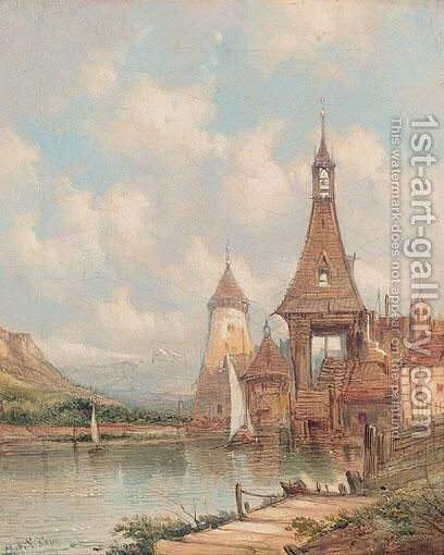 A Village On The Rhine by Alfred Vickers - Reproduction Oil Painting