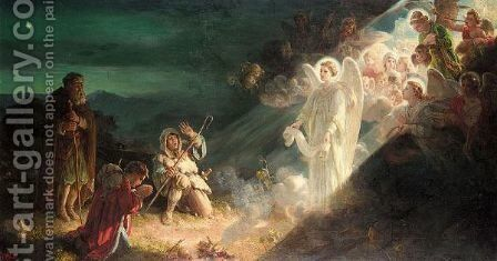 The Angel Gabriel Appearing To The Shepherds by Alfred Morgan - Reproduction Oil Painting