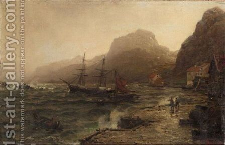 A Stormy Landscape by Hans Fredrik Gude - Reproduction Oil Painting