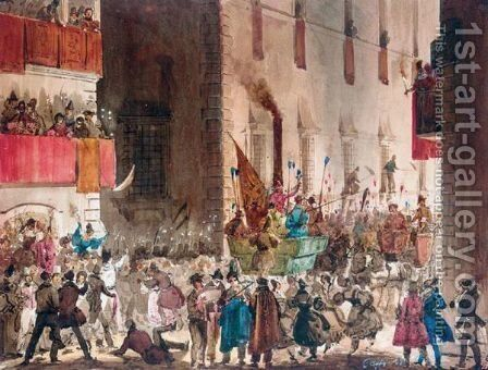 Carnival In The Via Del Campo, Rome 2 by Ippolito Caffi - Reproduction Oil Painting