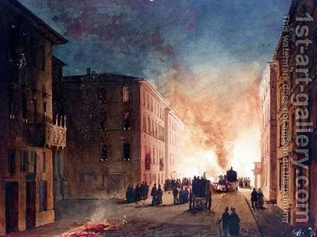 A Fire In A Roman Street by Ippolito Caffi - Reproduction Oil Painting