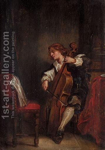 The Cellist by Continental School - Reproduction Oil Painting