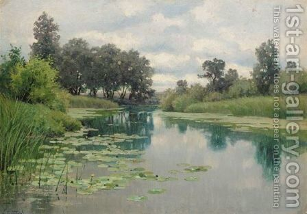 River Scene With Waterlilies by Continental School - Reproduction Oil Painting