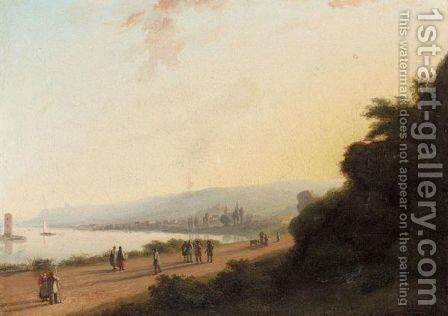 Promenade By The Lakeside by Continental School - Reproduction Oil Painting