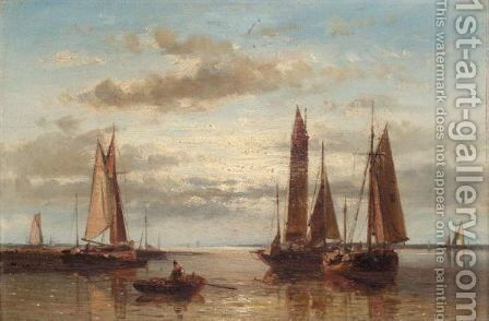 Shipping In A Calm Sea by Abraham Hulk Snr - Reproduction Oil Painting