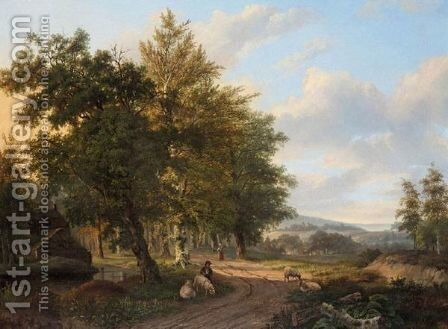 Shepherdess And Her Flock On A Country Track by Dutch School - Reproduction Oil Painting