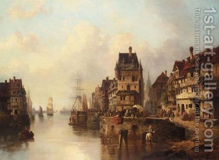 A Bustling Town On A River by A. Grolmann - Reproduction Oil Painting