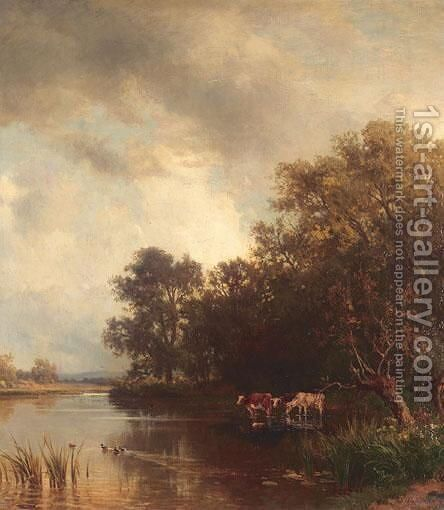 Landscape By Lake Chiemsee by Philipp Roth - Reproduction Oil Painting