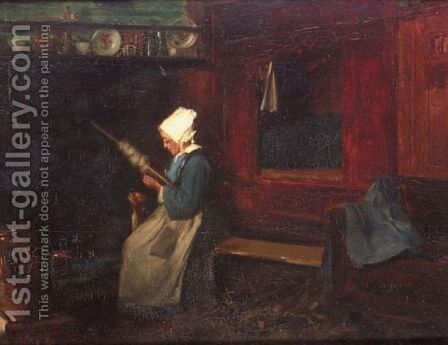 Lady At The Loom by Alfred-Victor Fournier - Reproduction Oil Painting