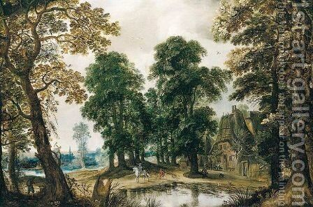 Wooded Landscape With Figures Passing Through A Village by (after) Adriaen Van Stalbemt - Reproduction Oil Painting