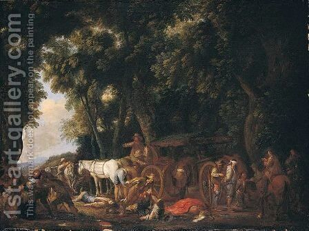 A Wooded Landscape With Bandits Ambushing Travellers by Cornelis de Wael - Reproduction Oil Painting