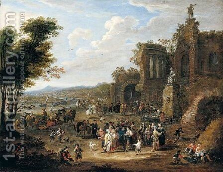 A River Landscape With Orientals And Locals Conversing Before A Set Of Ruins by Mathys Schoevaerdts - Reproduction Oil Painting