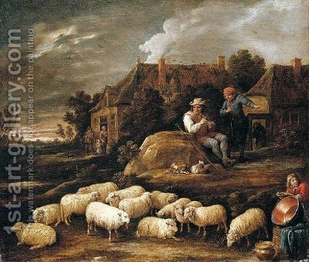 A Shepherd Tending His Sheep And Conversing With A Traveller At The Edge Of A Village, A Boy Collecting Water In The Foreground by David The Younger Teniers - Reproduction Oil Painting