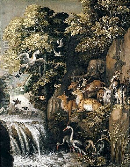 A River Landscape With Deer, Elephants, Lions, Goats And Other Animals And Birds Beside A Waterfall by (after) Roelandt Jacobsz Savery - Reproduction Oil Painting