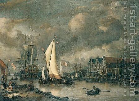 A Dutch Two Decker And Other Shipping At Anchor Along A Quayside by Jan Claes Rietschoof - Reproduction Oil Painting