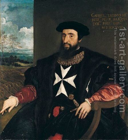 Portrait Of Gabriele Tadino (1480-1544), Three-Quarter Length Seated, Wearing The Robes Of The Order Of The Knights Of Malta, A Landscape With Cannons Beyond by (after) Tiziano Vecellio (Titian) - Reproduction Oil Painting