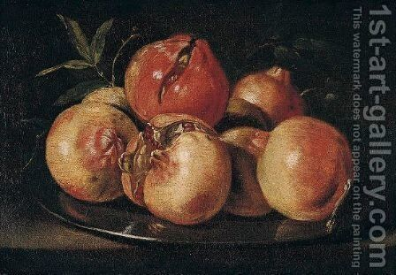 Still Life Of Pomegranates Upon A Pewter Dish by (after) Juan De Zurbaran - Reproduction Oil Painting
