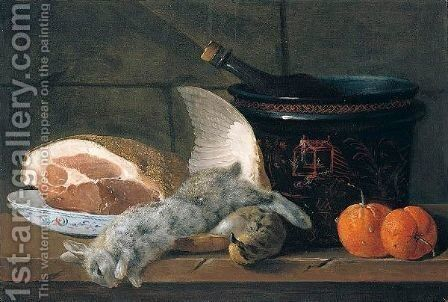 Still Life With A Ham, A Porcelain Bowl, A Chinoiserie Pot, Two Oranges, A Rabbit And A Partridge, Together On A Wooden Table by Jacques Charles Oudry - Reproduction Oil Painting