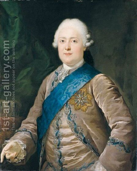 Portrait Of Friedrich August I (1750-1827), Elector And Later King Of Saxony, Half Length, Wearing A Mauve Jacket And Waistcoat And The Badge Of The Order Of The White Eagle - Museum Briner und Kern, Winterthur, Switzerland by Anton Graff - Reproduction Oil Painting