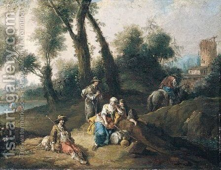 A Landscape With Travellers And Pilgrims Resting Beside A Stream, Ruins Beyond by Giuseppe Zais - Reproduction Oil Painting