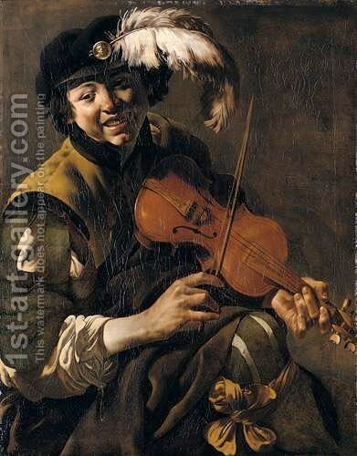 A Youth Playing The Violin by Hendrick Terbrugghen - Reproduction Oil Painting